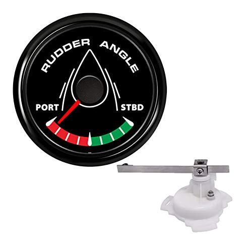 KAOLALI 52mm Rudder Angle Indicator Waterproof Gauge Meter 0-190 ohm with Mating Angle Sensor for Boat Yacht 52mm 9-32V Backlight(Black)