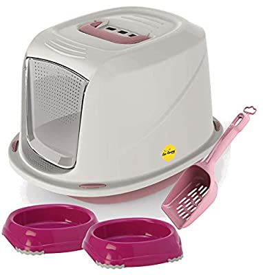 Cat Bundle - Enclosed Galaxy Cat Litter Tray + Easy Clean Scoop + 2 Food & Drink Bowls