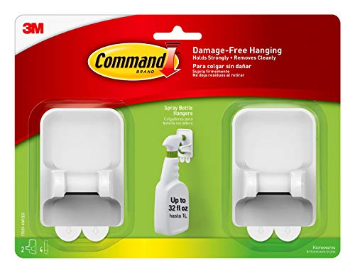 Command 17009-HW2ES Spray Bottle, 2 Pack, 1 Hangers, 4 Large Strips, 2 Holders, 2 Count