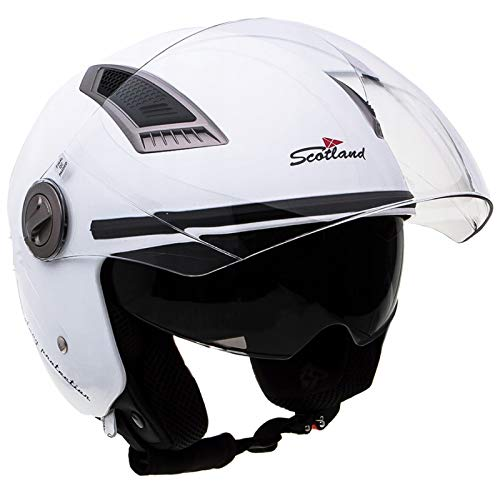 Scotland 120009  – Casco Jet de Moto con doble visera, blanco, 61-62 (XL)