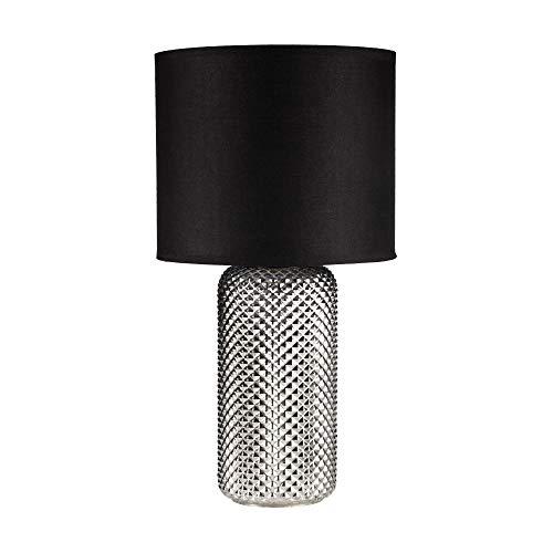 Pauleen 48101 luminaria Bright Jewel máx. 20W E27, lámpara de sobremesa 230V Tela, Vidrio ahumado, Negro