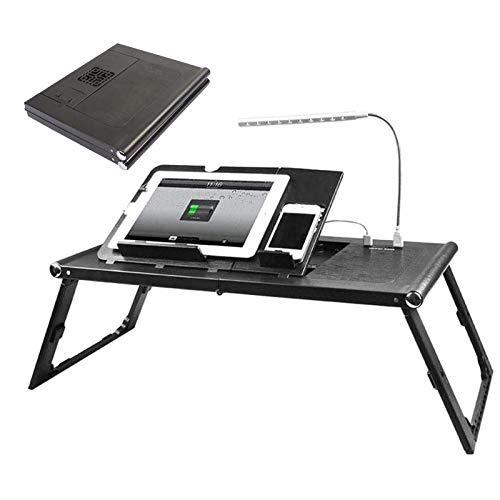GDAFF Mesa Cama Ordenador Portátil Plegable Escritorio Cama con Fuente de alimentación incorporada Ajustable Bandeja de Cama con Patas con luz LED, para Cama, sofá, Suelo
