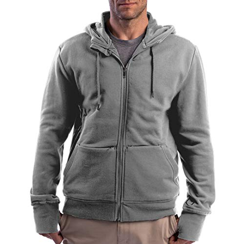 SCOTTeVEST Men's Hoodie Cotton Zip Sweatshirt | 21 Pockets | Anti-Pickpocket Maroon