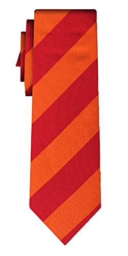 Cravate soie rayée stripe L red orange