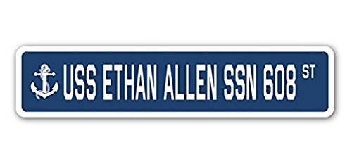 USS Ethan Allen SSN 608 Street Sign Sticker 8'' Long Navy Ship Veteran Sailor Vet USN Gift Sticker Sign - Sticker Graphic Sign - Will Stick to Any Smooth Surface