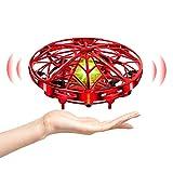 UTTORA UFO Mini Drone para Niños Hand Control RC Inducción Infrarroja de Helicopteros Teledirigidos Juguetes UFO Drones Recargable Flying Toy Libre con Luces LED Regalos para Niños