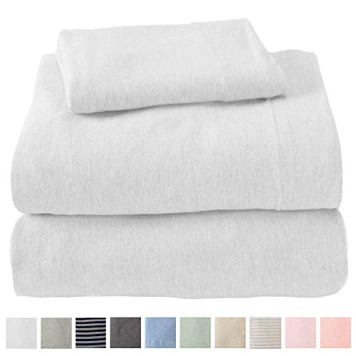 Great Bay Home Jersey Knit Sheets. All Season, Soft, Cozy King Jersey Sheets. T-Shirt Sheets. Jersey Cotton Sheets. Heather Cotton Jersey Bed Sheet Set. (King, Winter White)