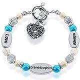 Granddaughter Gift | Stretch Heart Charm Bracelet for Girls...