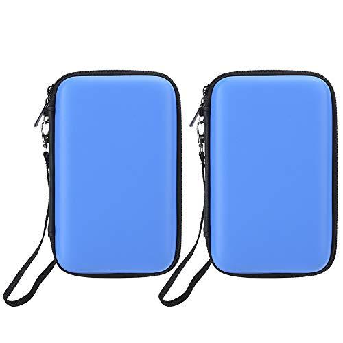 Conveniente para carregar acessórios de jogo usados para armazenar bolsa rígida para console de videogame, compartimento de nylon de camada dupla, moldura de cola elástica para Home Office 3DS 3DS XL (azul)