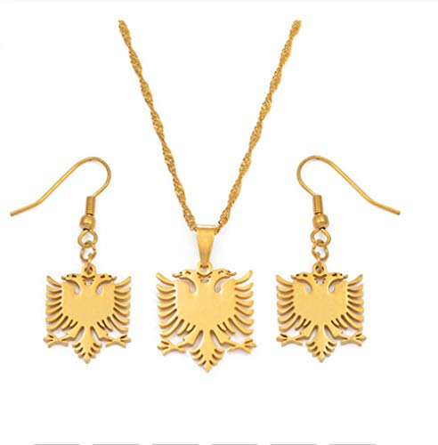 NUANYANG Fashionable Albanian Eagle Necklace Earrings Stainless Steel Gilded Lady Jewelry Ethnic Style Golden
