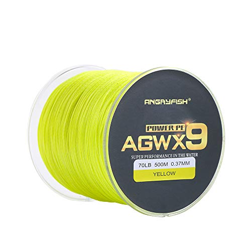 ANGRYFISH AGWX9 Braided Fishing Line,Cost-Effective Smooth Superline-Multiple Colors-Extremely Durable-Wonderful Tool for Fishing Enthusiast(Yellow,60LB/0.33MM-300M)