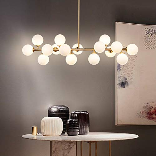WHSS Lámpara de techo con forma de bola de cristal LED de ADN molécula de ADN, color amarillo, luz cálida y dorado, para comedor, sala de estar, estudio, dormitorio, simple y moderno de lujo