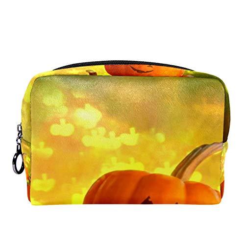 Cosmetic Bag Womens Makeup Bag for Travel to Carry Cosmetics,Change,Keys etc Yellow Pumpkin Halloween
