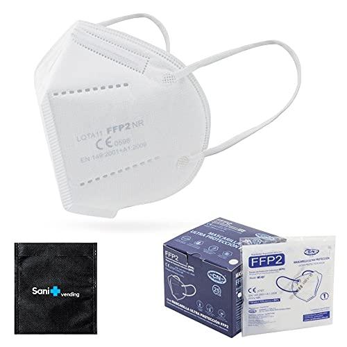 25 uds Mascarilla FFP2 CN Ultra Protección + Estuche Antiséptico + Ajustadores   Homologada CE   desechable - no Reutilizable   5 capas, tamaño adulto, Color a escoger (Blanco)