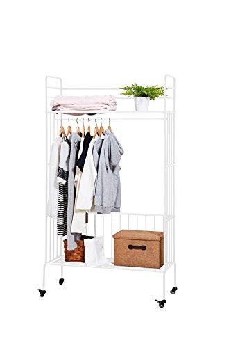 NEUN WELTEN Perchero con estantes de ropa Clásico Ropero de metal con Ruedas 100 x 42 x 180 (Blanco)