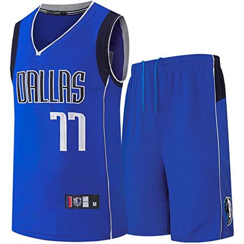 CYYMY Camiseta de Jugador de Baloncesto para Hombres, NBA #77 Camiseta con Bordado, Camiseta de Los Fanáticos, Chaleco Transpirable Deportivas de Jersey Swingman,Azul,S