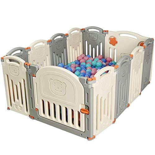 COSTWAY Parque Infantil Bebé de Plástico Plegable Barrera de Seguridad con Puerta Valla de Juego