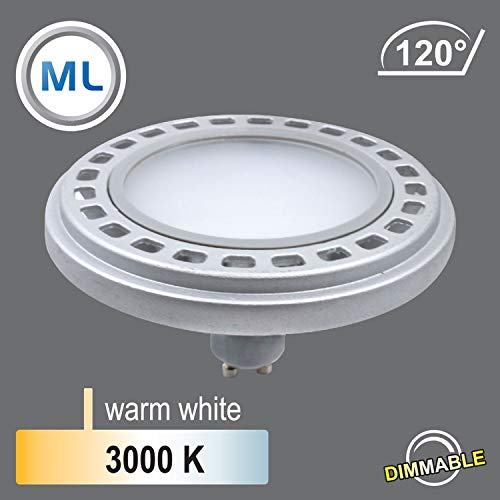 Qpar111 LED Leuchtmittel GU10 Sockel, 12W 3000K /4000K (3000K Dimmbar 120°)