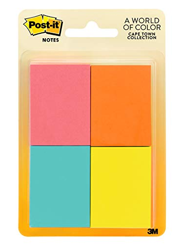 Post-it Mini Notes, 1.5 in x 2 in, 12 Pads, America's #1 Favorite Sticky Notes, Jaipur Collection, Bold Colors (Green, Yellow, Orange, Purple, Blue), Clean Removal, Recyclable (653-AU)