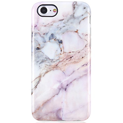 iPhone 7 Case,iPhone 8 Case,Pink Marble for Girls Women,VIVIBIN Anti-Scratch Shock Proof Soft TPU Gel Case Silicon Protective Skin Cover for iPhone 7 / iPhone 8 4.7inch only