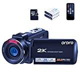 ORDRO Camcorder Video Camera HDV-Z63 QHD 2K 30fps 30MP WiFi Camera Recorder Infrared Night Vision Digital Cameras YouTube Vlogging Camcorders with 32GB MicroSDHC Card and 2 Batteries