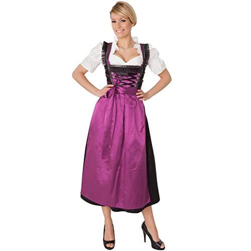 DAY8 Trachten Damen Dirndl Set - Midi Trachtenkleid Kurzarm Dirndlbluse für Oktoberfest Lila L