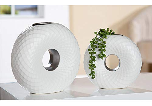 schöne Blumenvase Lochvase Keramik mit Muster 2er Set Vase matt Weiss