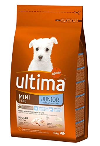 Ultima Cani Crocchette Mini Junior 1-10 kg Chicken Rice 1.5Kg Formato (Set di 3)