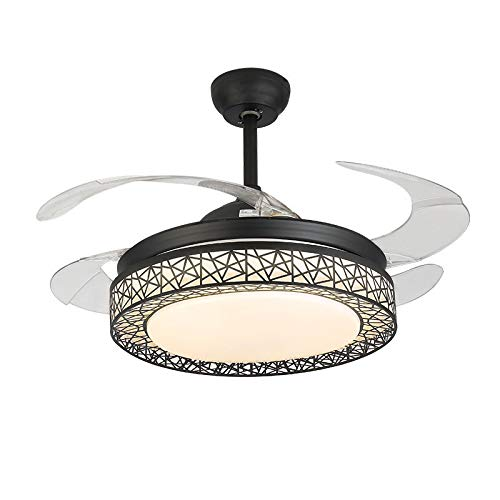 KALRI Dimmable 42 Inch Ceiling Fans with LED Lights and 4 Retractable Blades Modern Invisible Chandelier Pendant Lighting Fixture (Black)
