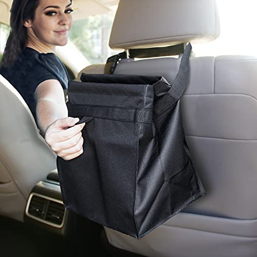 EcoNour Car Trash Can with 100% Waterproof and Leakproof Interiors | Easy Mountable Car Garbage Can for Back Seat | Foldable Small Car Trash Bag and Multi-Use Hanging Car Garbage Bag