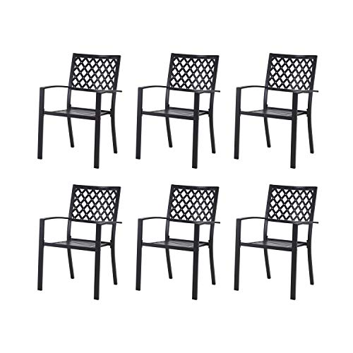 Patio Dining Chairs Set of 6 Outdoor Metal Stackable Bistro Chairs