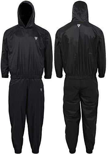 RDX Saunaanzug für Gym Workout & Fitness Training - Schwitzanzüge für Männer & Frauen Gewichtsverlust und Schlankheitsübungen - Schwarzer Kapuzenanzug für Cardio, Gewichtheben, Laufen, Joggen