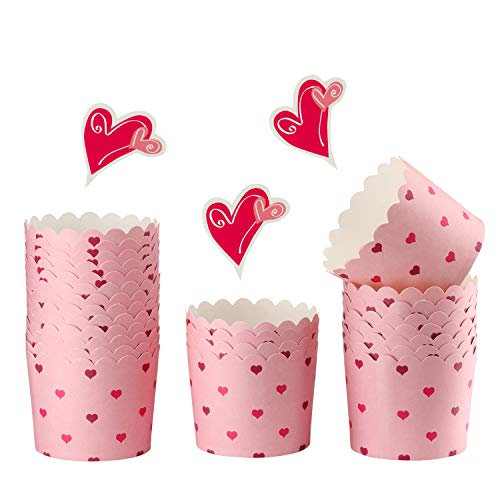 CHEFMADE Muffin Liners, 25Pcs 2oz Heart Printed Non-Stick Cupcake Paper Baking Cups for Oven Baking 2.4' x 2.2' (Pink)