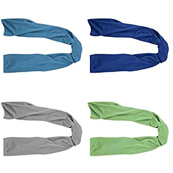 4 Packs Cooling Towel  40 x 12   Ice Towel Microfiber Towel Soft Breathable Chilly Towel Stay Cool for Yoga Sport Gym Workout Camping Fitness Running Workout & More Activities  Multicolor