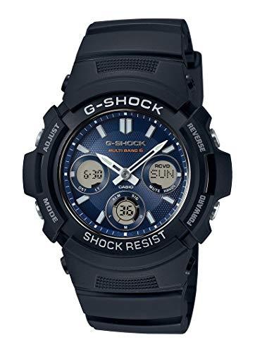 Casio G-SHOCK Orologio 20 BAR, Azzurro/Nero, con Ricezione Segnale Radio e Funzione Solare, Analogico - Digitale, Uomo, AWG-M100SB-2AER