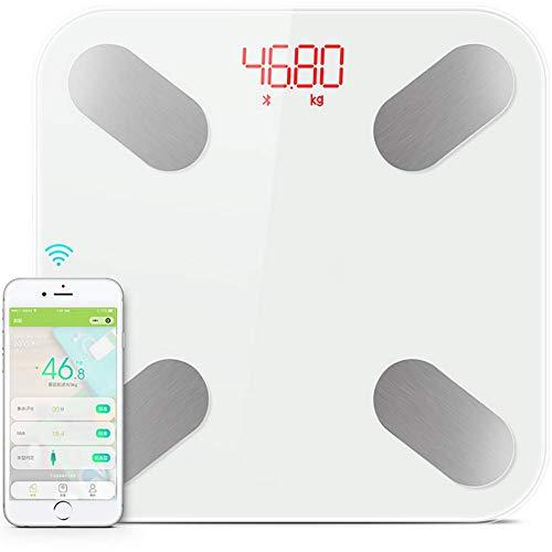 FYLD Digitale weegschaal, bluetooth, ultraslanke weegschaal, met app, voor BMI, gewicht, spiermassa, water, eiwit, botgewicht, enz, 180 kg / 400 lb / 26 cm * 26 cm