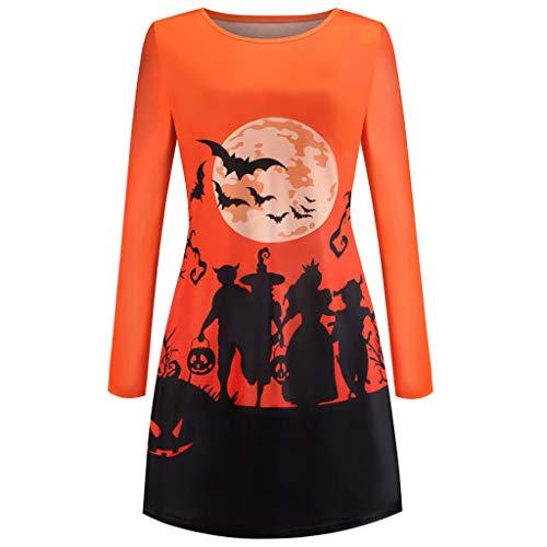RISTHY Vestidos de Fiesta Informal Vintage de Manga Larga para Mujer Vestido de Fiesta Estampado de Halloween