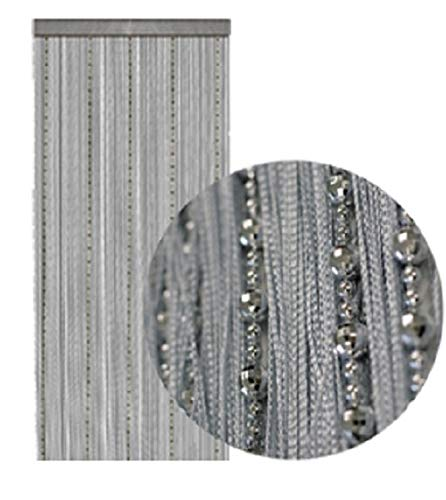 wometo Fadenvorhang Türvorhang Perlen 90x245 cm Silber - grau hellgrau Stangendurchzug kürzbar glänzend elegant edel