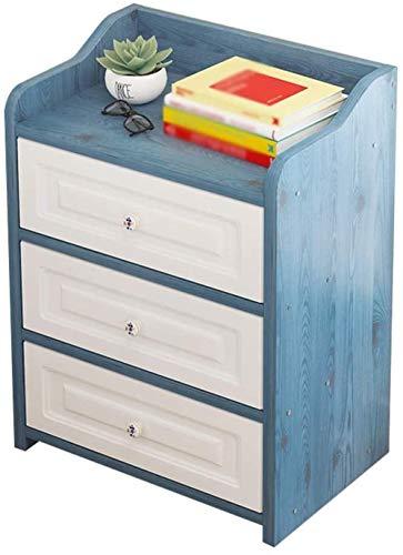 File cabinets Nachttisch, Nachttisch, stabiler Haushalt, Montage für Wohnzimmer, Schlafzimmer, Badezimmer, Spind, drei Pumpen, 38 x 30 x 60 cm, Beistelltisch (Farbe: Blau)