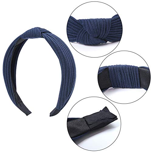 Tupa 3 Pack Women's Wide Plain Headbands Fashion Knot Turban Headband Elastic Hair Band Hair Accessories for Women and Girls (Mixed Color H)