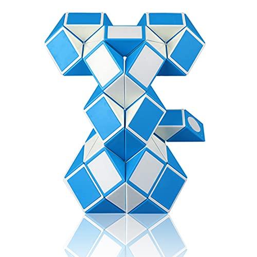 EACHHAHA Magic Snake Puzzles Serpiente mágica 48 Secciones-Juguetes educativos antiestrés-Fidget Toys-Regalos de Fiesta para niños y Juguetes pequeños(Gran Azul y Blanco*1)