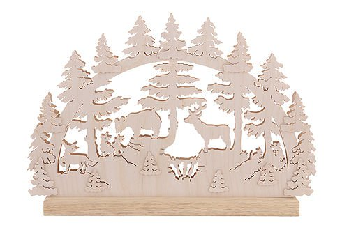 3D-Doppelschwibbogen - Tiere im Wald - 42 x 30 x 4,5 cm - Original Erzgebirge Schwibbögen - Michael Müller