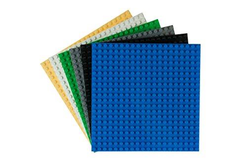 Strictly Briks - Bases clásicas para Construir - para Hacer Torres, mesas y Mucho más - 100 % compatibles con Todas Las Grandes Marcas - Negro, Azul, Gris, Verde, Arena y Blanco - 15,2 x 15,2 cm