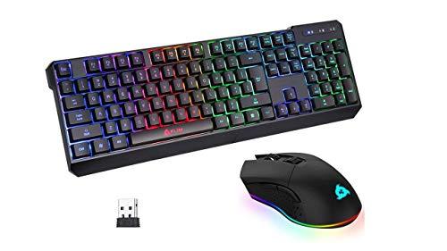 KLIM Wireless Bundle - RGB Mouse + Keyboard - Chroma Wireless Gaming Keyboard + Blaze Wireless Gaming Mouse - 2021 New - Black