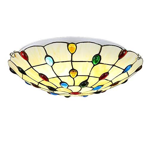 ZMLG Tiffany Deckenleuchte LED Rund, Kreative Farbe Perlen Mediterrane Deckenleuchte Unterputz Barock Wohnraumbeleuchtung für Schlafzimmer Gang Balkon,Whitelight,Ø40cm