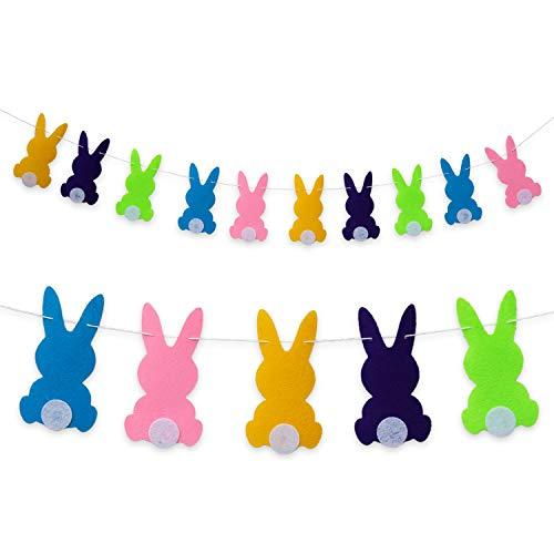 Oblique Unique® Hasen Girlande Osterhasen Kaninchen Banner - 2m - aus Filz in Gelb Türkis Rosa Grün Lila - für Ostern Kinder Geburtstag Party Feier Deko
