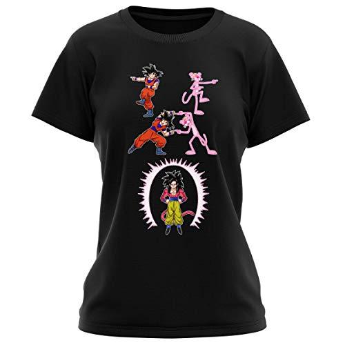 T-shirt Femme Noir parodie Dragon Ball GT Panthère Rose - Sangoku 4 et la Panthère Rose - L'être le plus puissant de l'Univers !! (Fusion !!) (T-shirt de qualité premium de taille L - imprimé en Fran