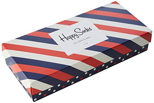 Happy Socks, Exclusive Colorful Premium Cotton Sock Gift Box for Men and Women (Pack of 4), Stripe, (41-46)