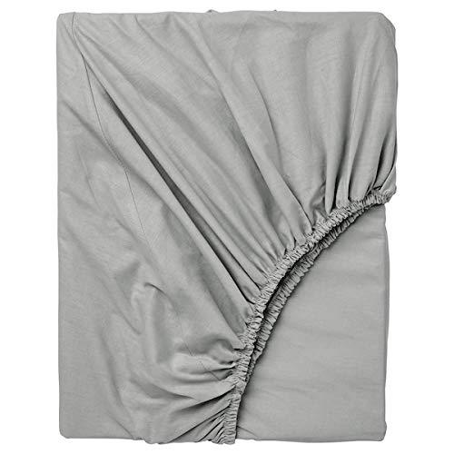 IKEA Spannbettlaken DVALA Bettlaken in 90 x 200 cm für Matratzen bis 26cm Stärke - 100% Baumwolle - Grau