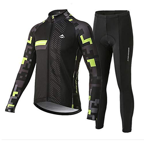 N/V D.Stil Herren Fahrradbekleidung Set Radtrikot Langarm Fleece mit 3D Polster Hosen für MTB Rennrad M-3XL (Grün, XL)